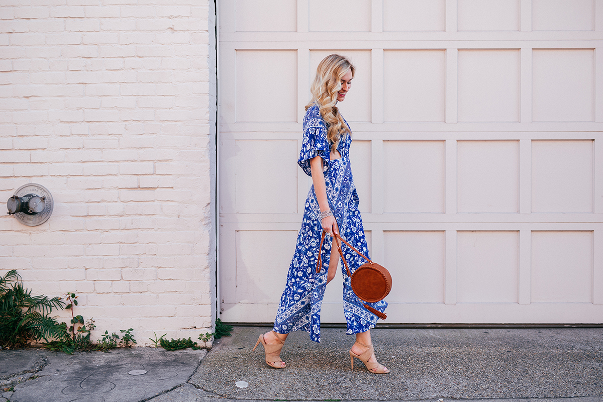 Festival Inspired Outfit | Boho Maxi Dress | Sole Society Nude Heel | Silver Bib Necklace