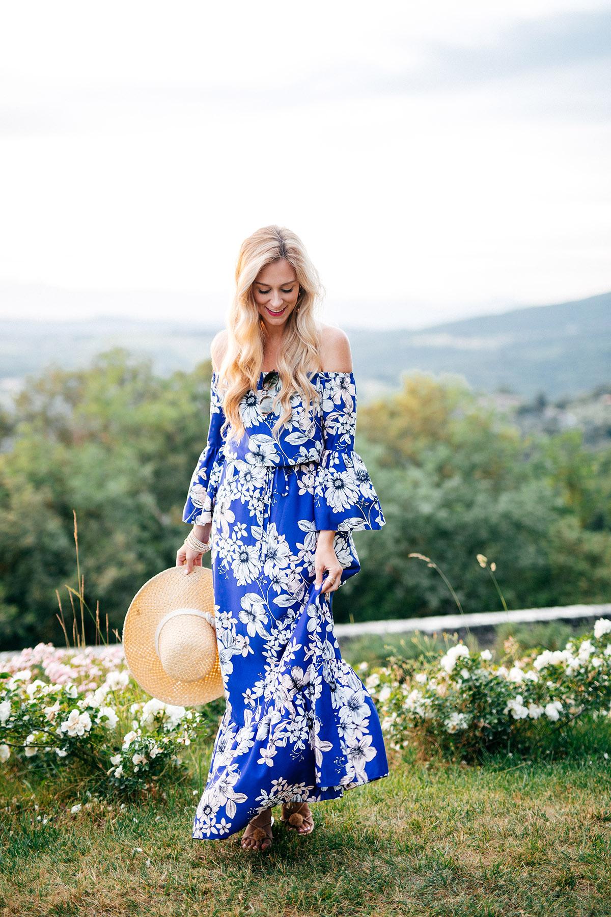 Off-the-Shoulder Floral Midi Dress | Eliza J