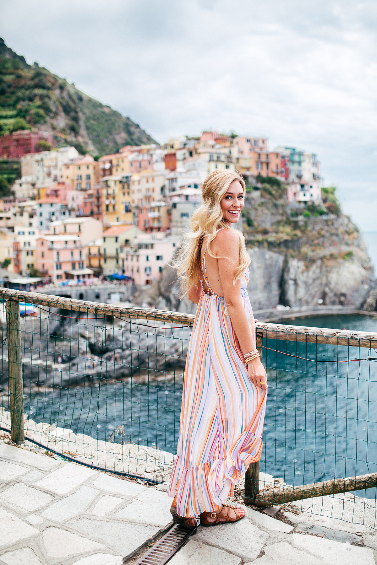 Planning Your Trip to Cinque Terre | Italy Bucket List | Italy Travel Outfits | Free People Rainbow Maxi Dress