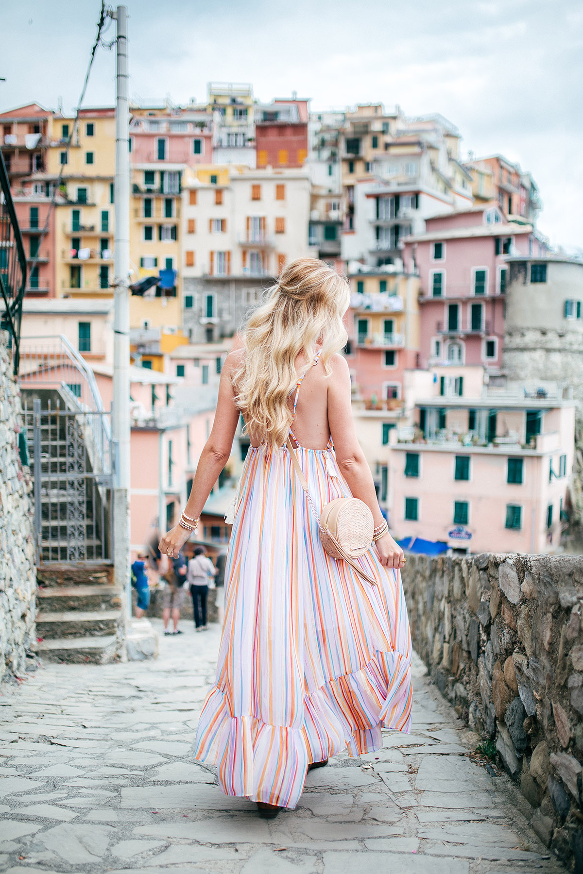 Planning Your Trip to Cinque Terre | Italy Bucket List | Free People Rainbow Maxi Dress