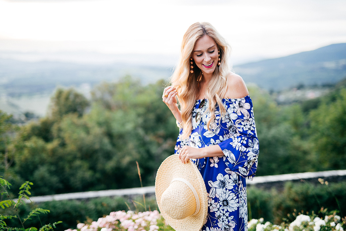 Off-the-Shoulder Floral Midi Dress | Eliza J