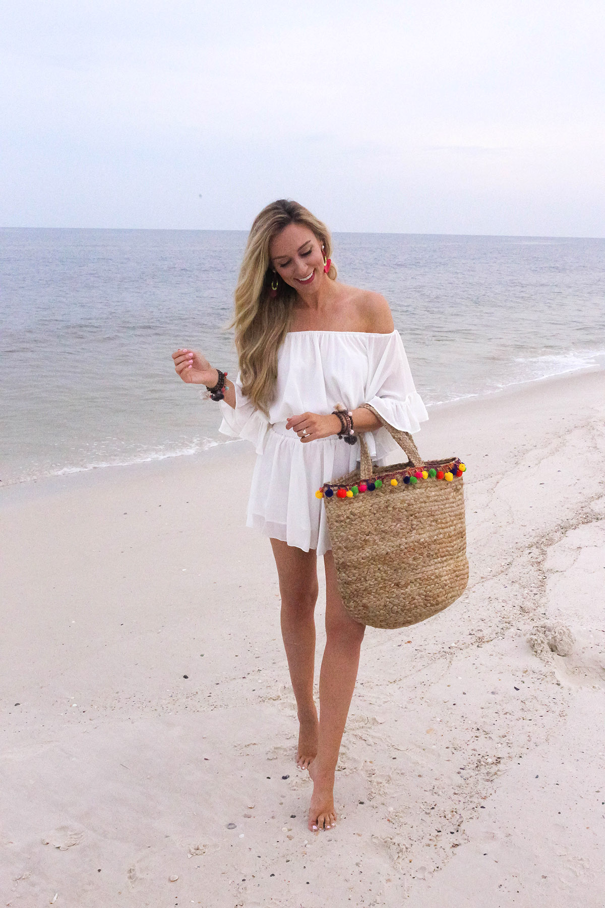 White Off the Shoulder Swimsuit Coverup