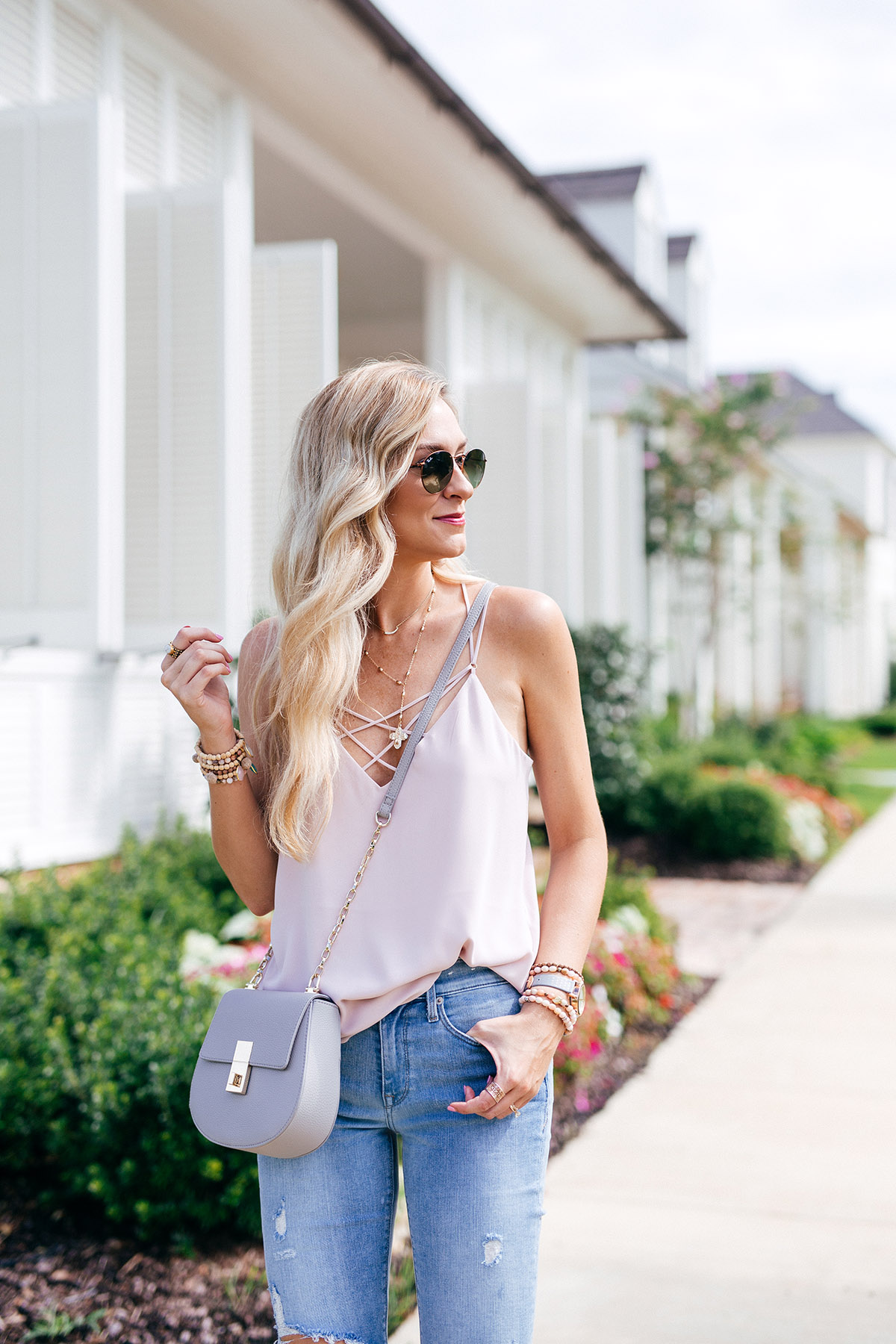 Strappy Blush Camisole and Distressed Denim | Designer Dupe | Chloe Drew Lookalike Bag