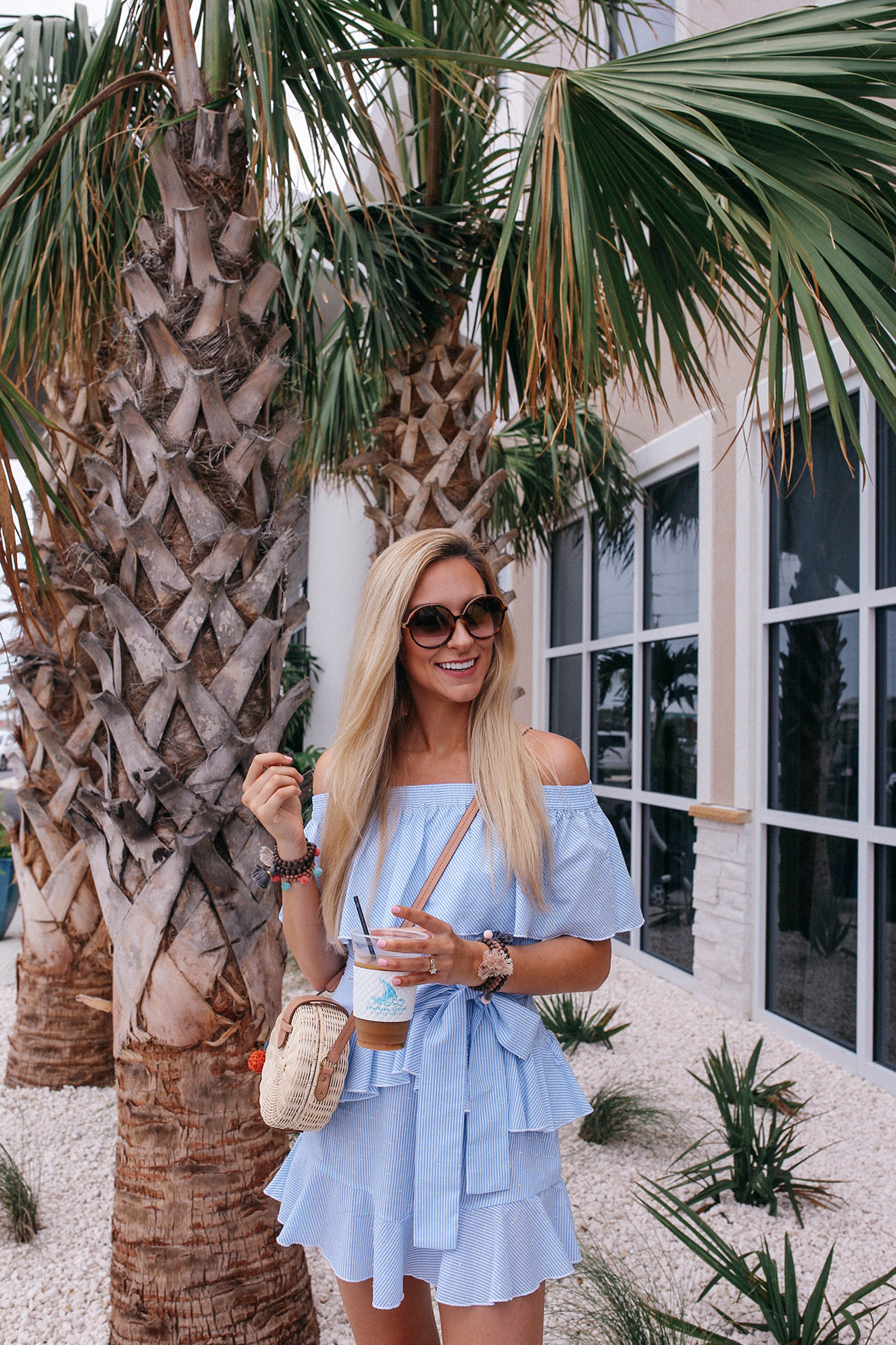 Blue Seersucker Off The Shoulder Dress | Orange Beach Travel Guide | Where To Eat