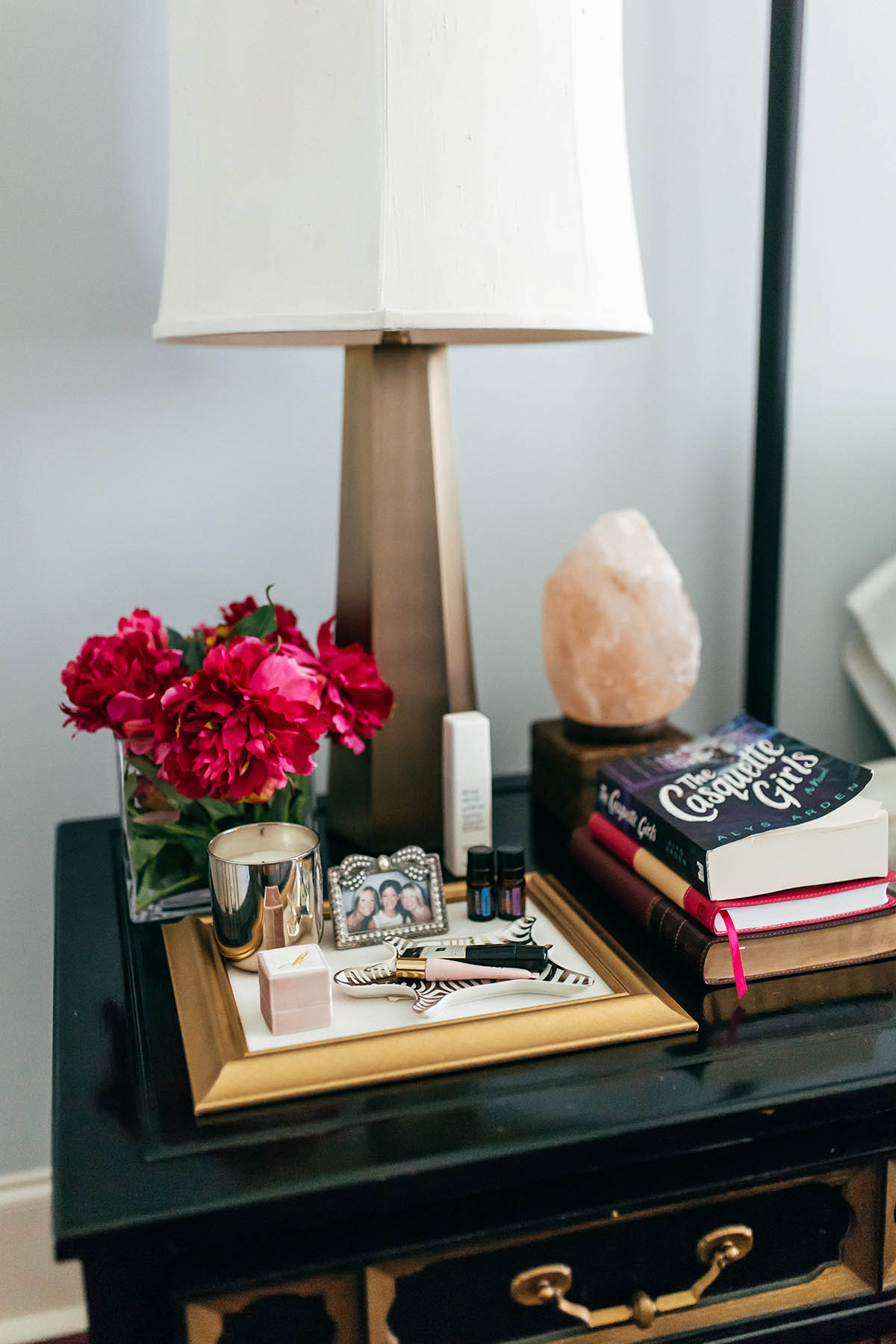 Master Bedroom Inspiration   How to Create a Space For Positivity   Pretty Bedroom Organization   Himalayan Salt Lamp