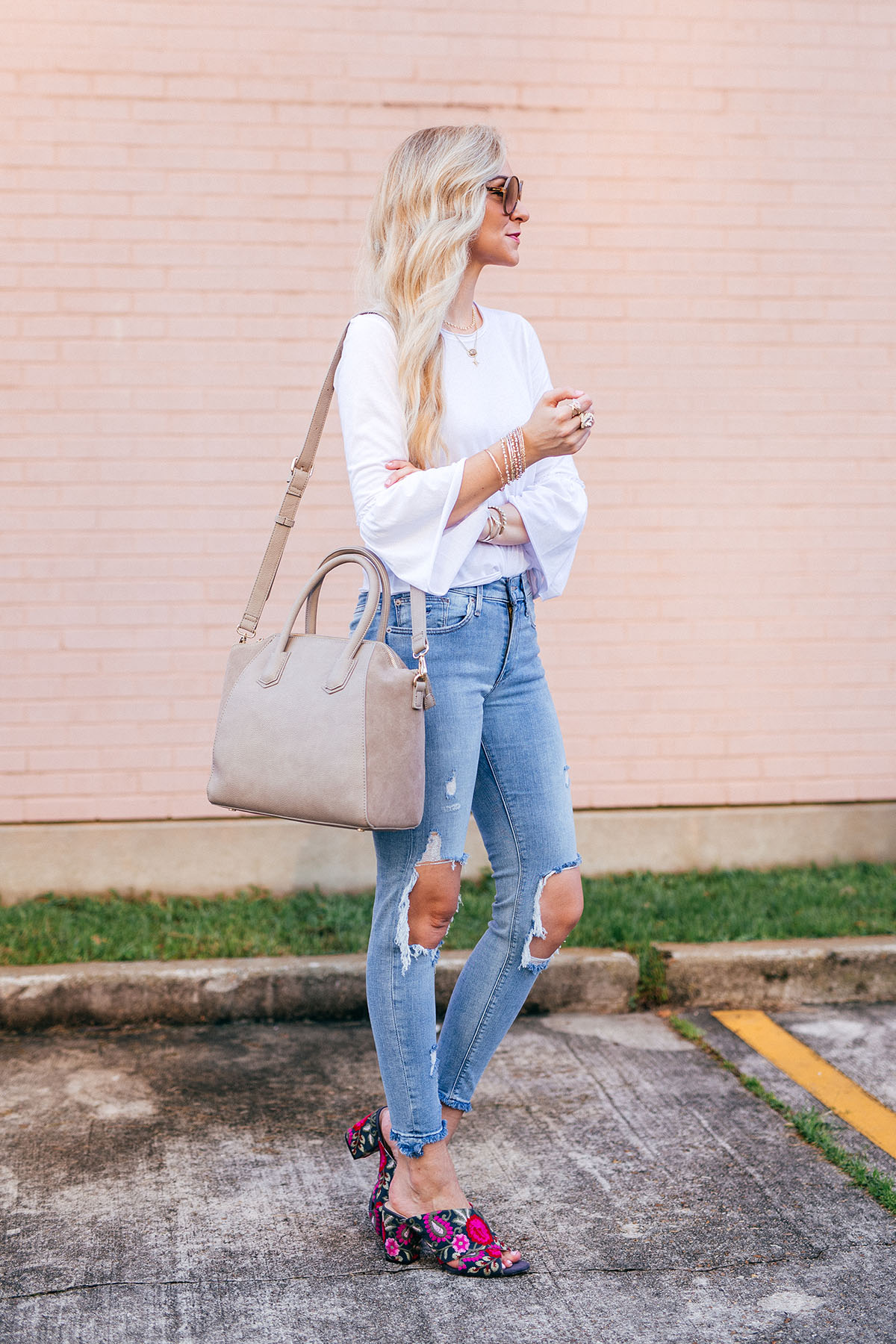 How to Wear Embroidered Mules   Sole Society Top Handle Handbag