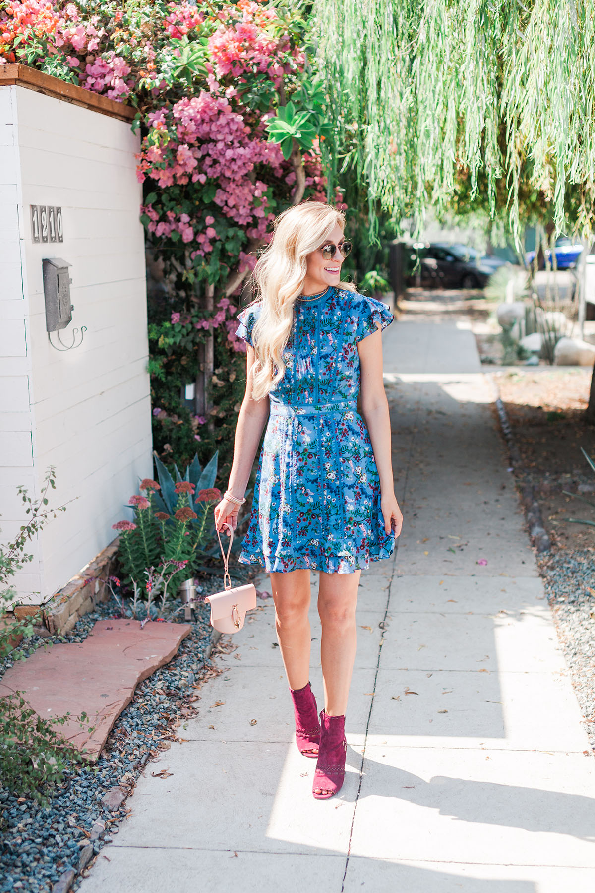 Alice and Olivia Fall Floral Dress | Burgundy Ankle Booties