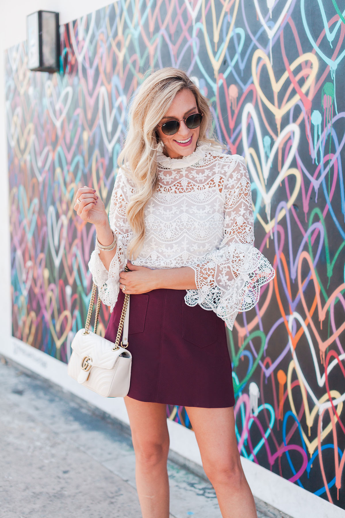 White Lace Top + Burgundy Mini Skirt | Fall Outfit Idea | Find This Look in the Shopbop Sale