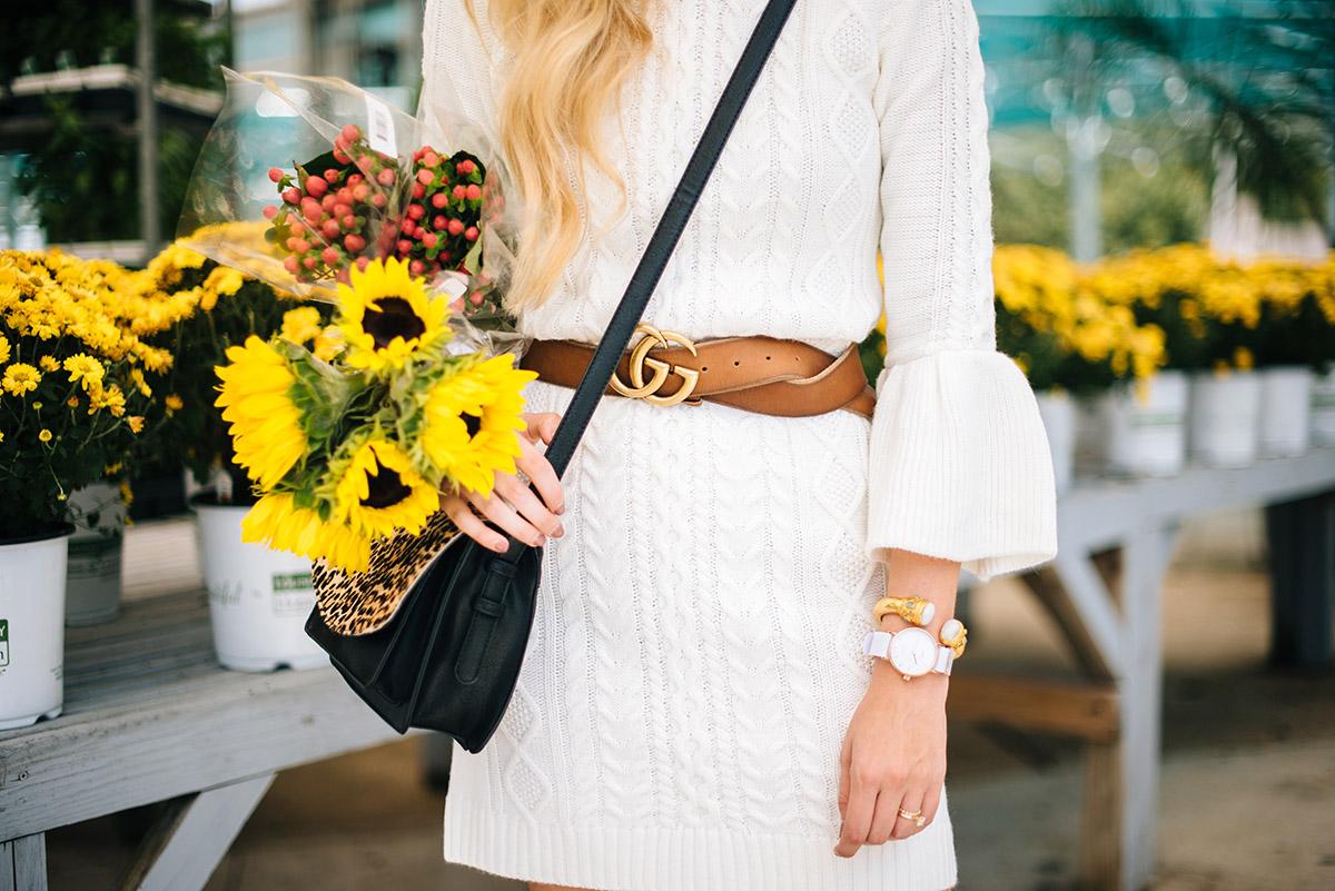 Fall To-Do List Ideas | Sweater Dress + Gucci Belt