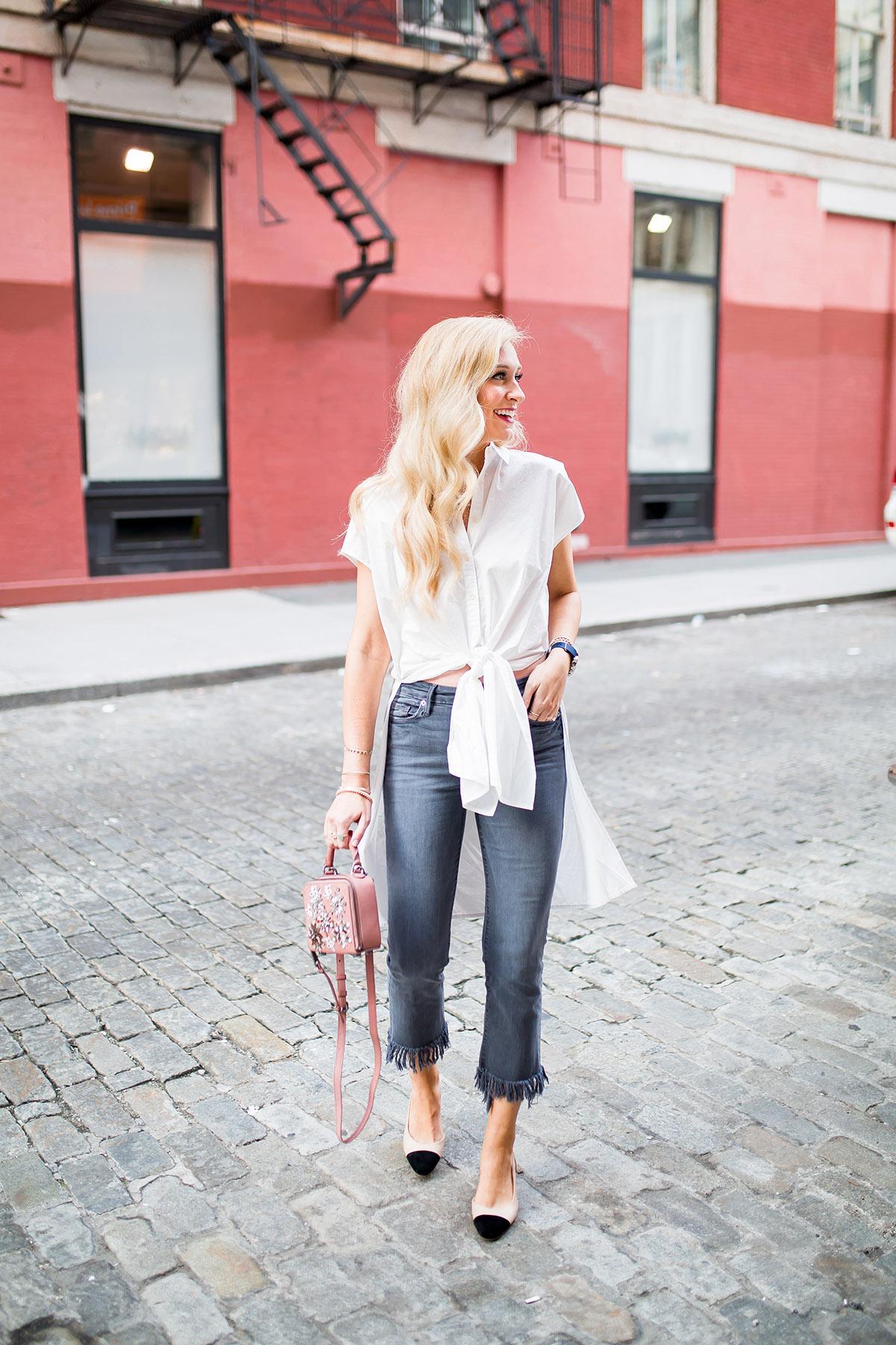 How to Wear the Fall Raw Hem Jean Trend