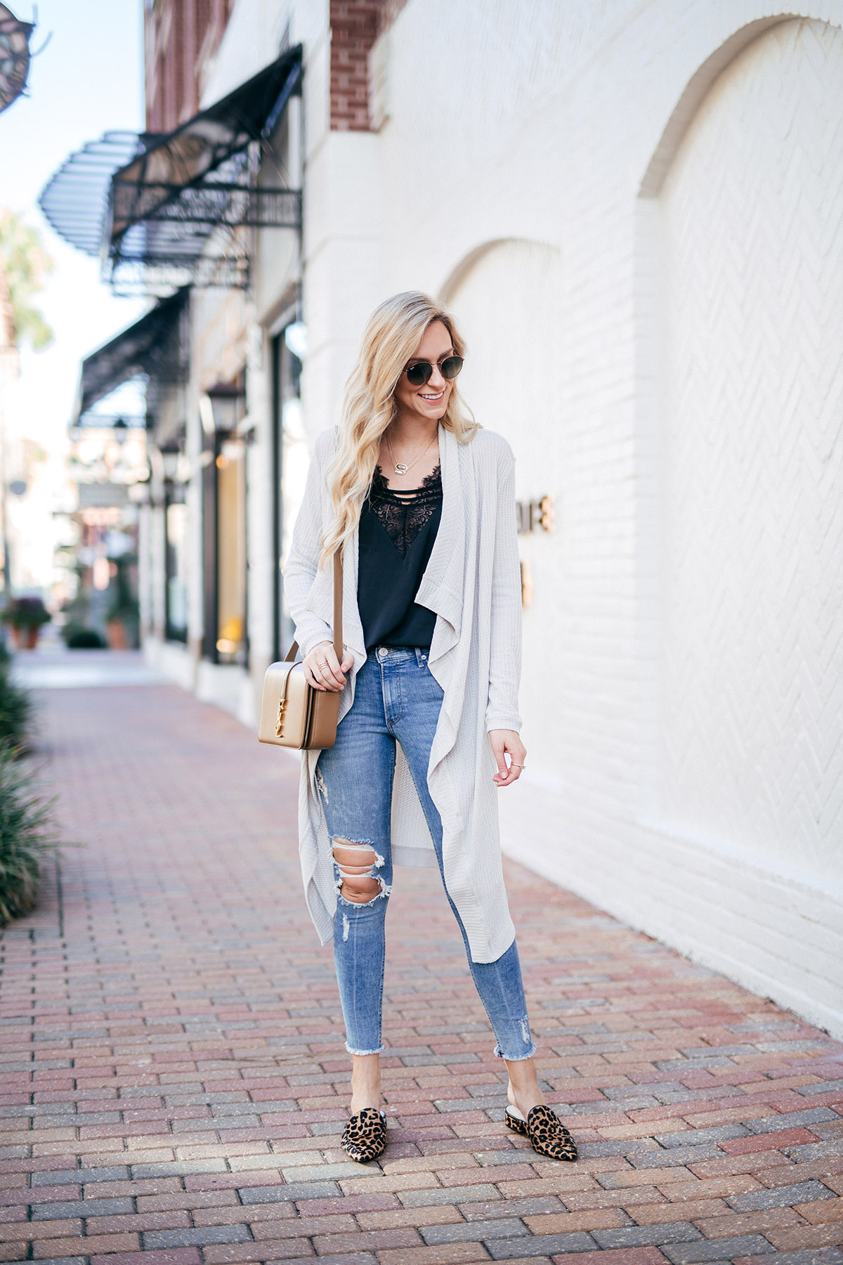 Fall Wardrobe Checklist | Long Cardigan + Camisole + Distressed Jeans + Mules | Fall Outfit Ideas