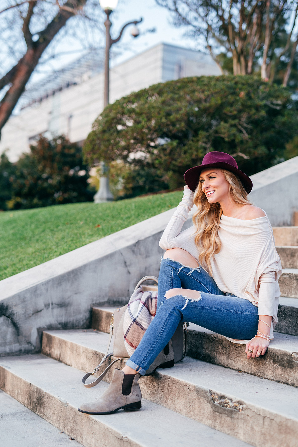 Suede Flat Ankle Boots   Born Casco Boots   Off the shoulder Free People Top