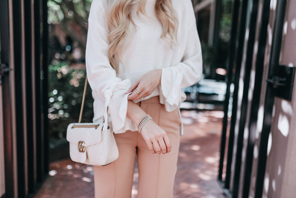 Tie Sleeve Sweater | Blush Wide Leg Pants | Fall Outfit Ideas