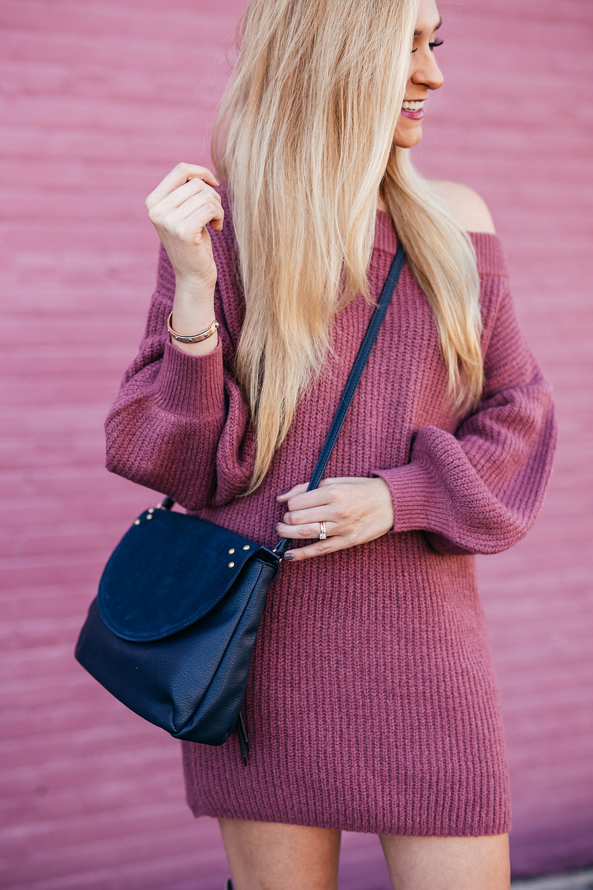 Off The Shoulder Sweater Dress | OTK Boots Under $150 | Fall Outfit Ideas