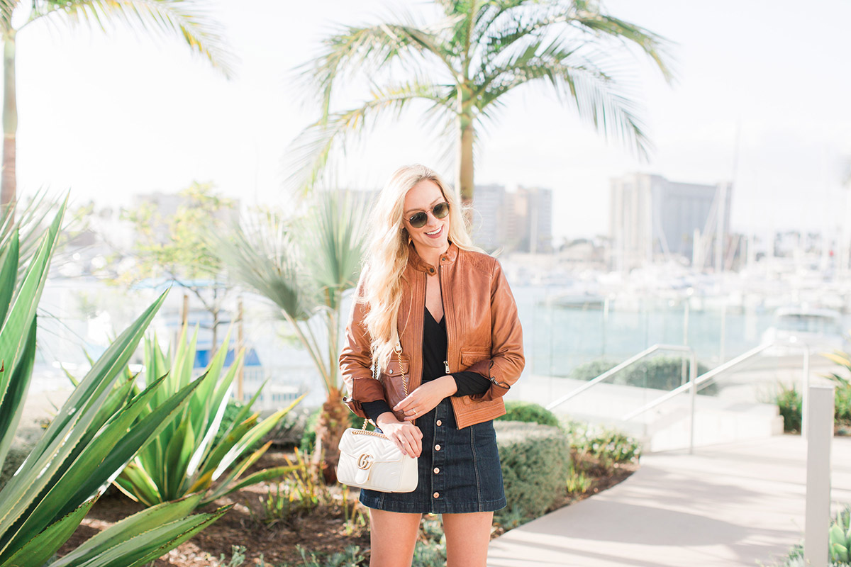 Why I Changed My Mind About Bodysuits + Why You Should Try One | Black Bodysuit and Denim Mini Skirt | Fall Outfit Idea