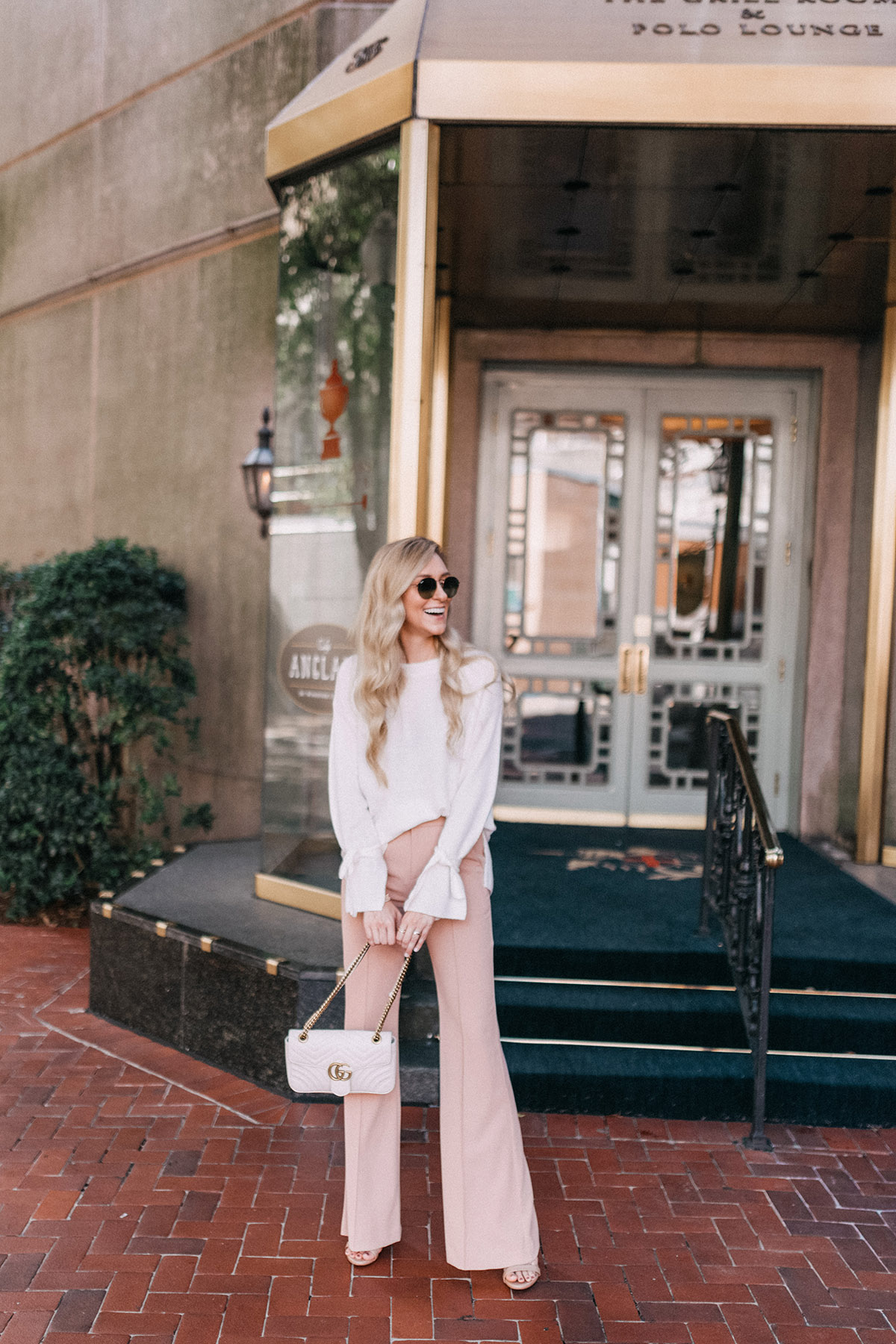 Tie Sleeve Sweaters | Blush Wide Leg Pants | Fall Outfit Ideas