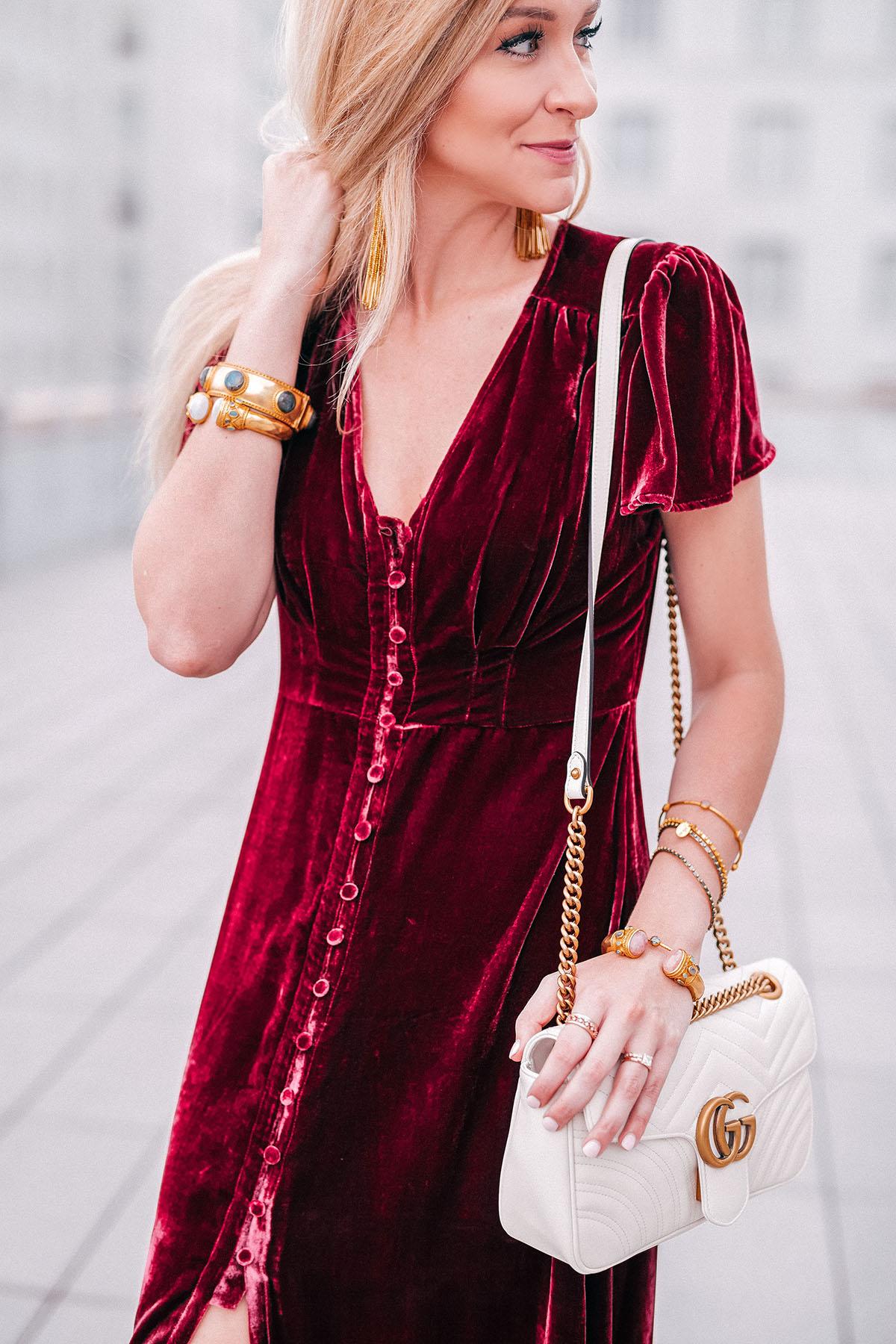 Hale Bob velvet maxi dress | Fall Cocktail Dress