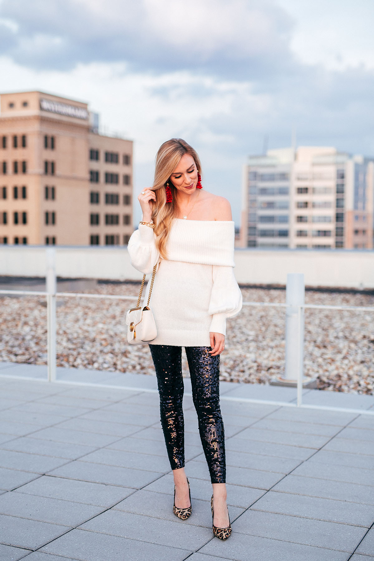 Sequin Leggings Under $100 | Holiday Party Outfit Ideas | Ivory Off the Shoulder Sweater