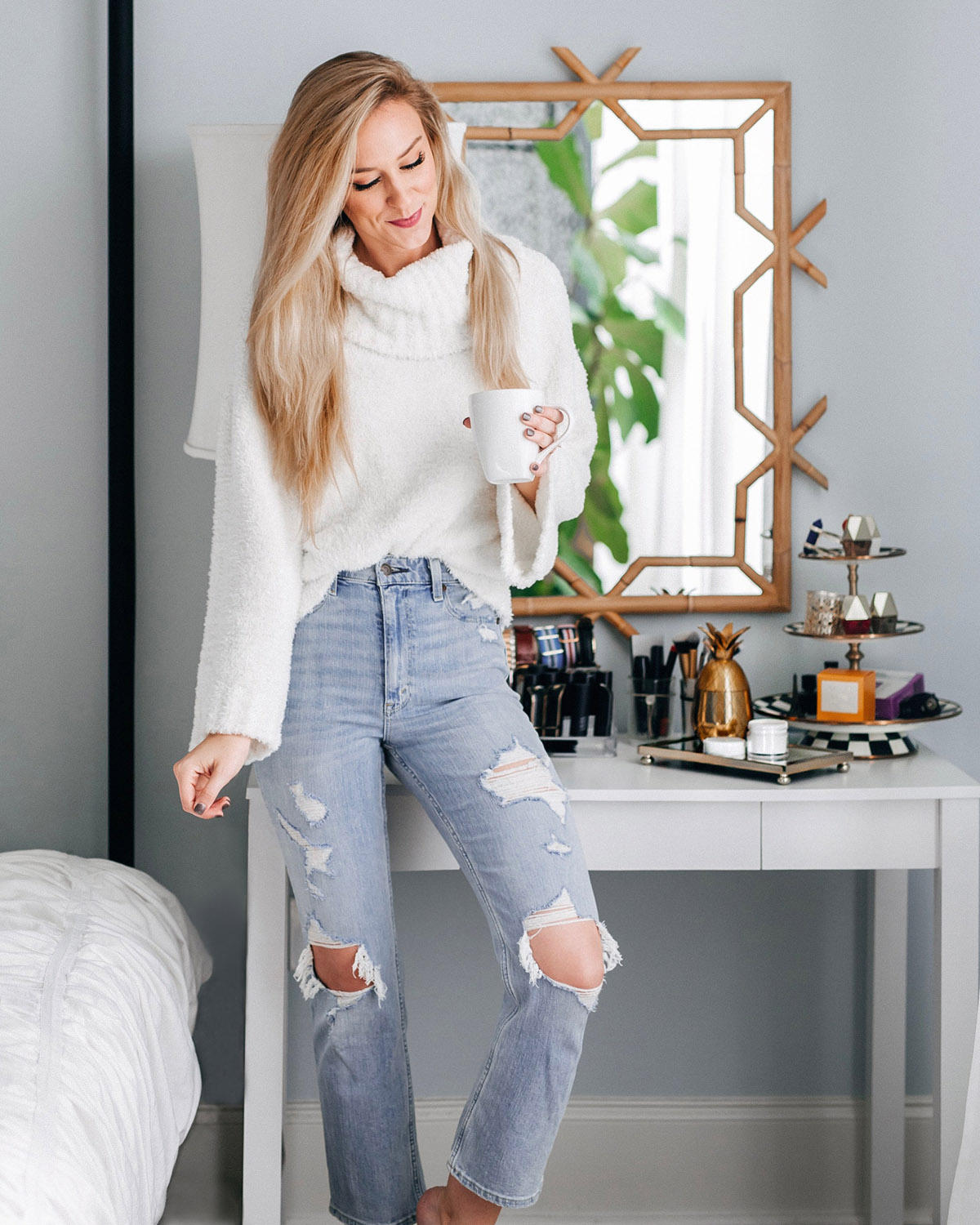 Serena and Lily Bamboo Mirror | Abercrombie cropped distressed jeans