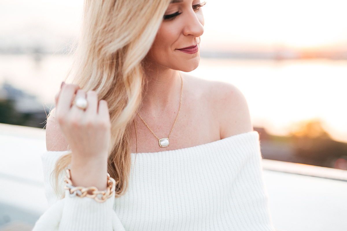 Sequin Leggings Under $100   Holiday Party Outfit Ideas   Ivory Off the Shoulder Sweater
