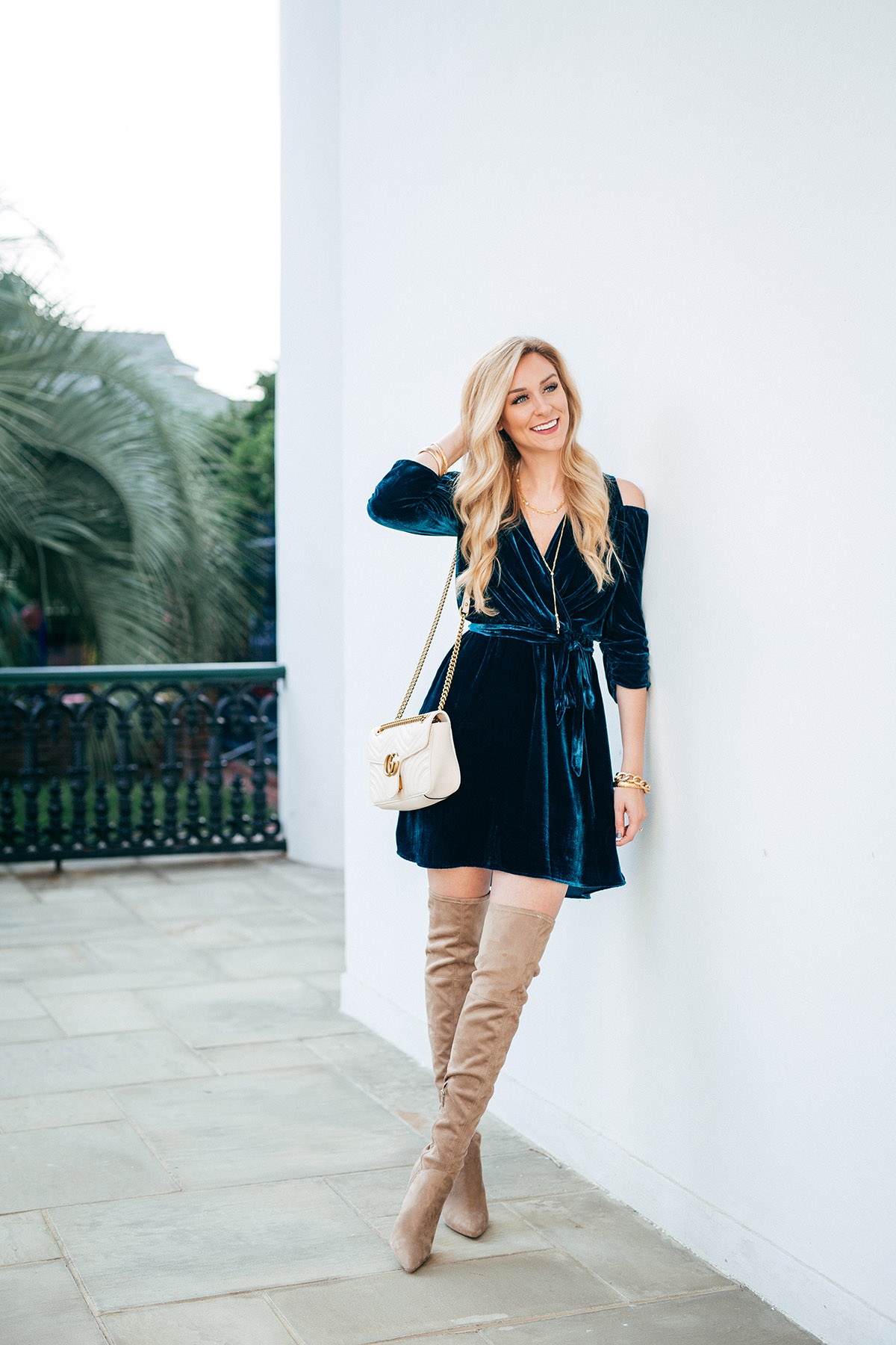 Statement Jewelry For Your Holiday Looks | Lee Michaels Fine Jewelry | Velvet Mini Dress + OTK Boots