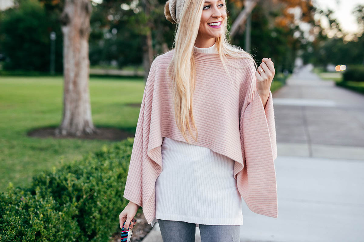 Easy Outerwear Options | Henri Bendel Cashmere Cape Poncho and Cashmere Beanie