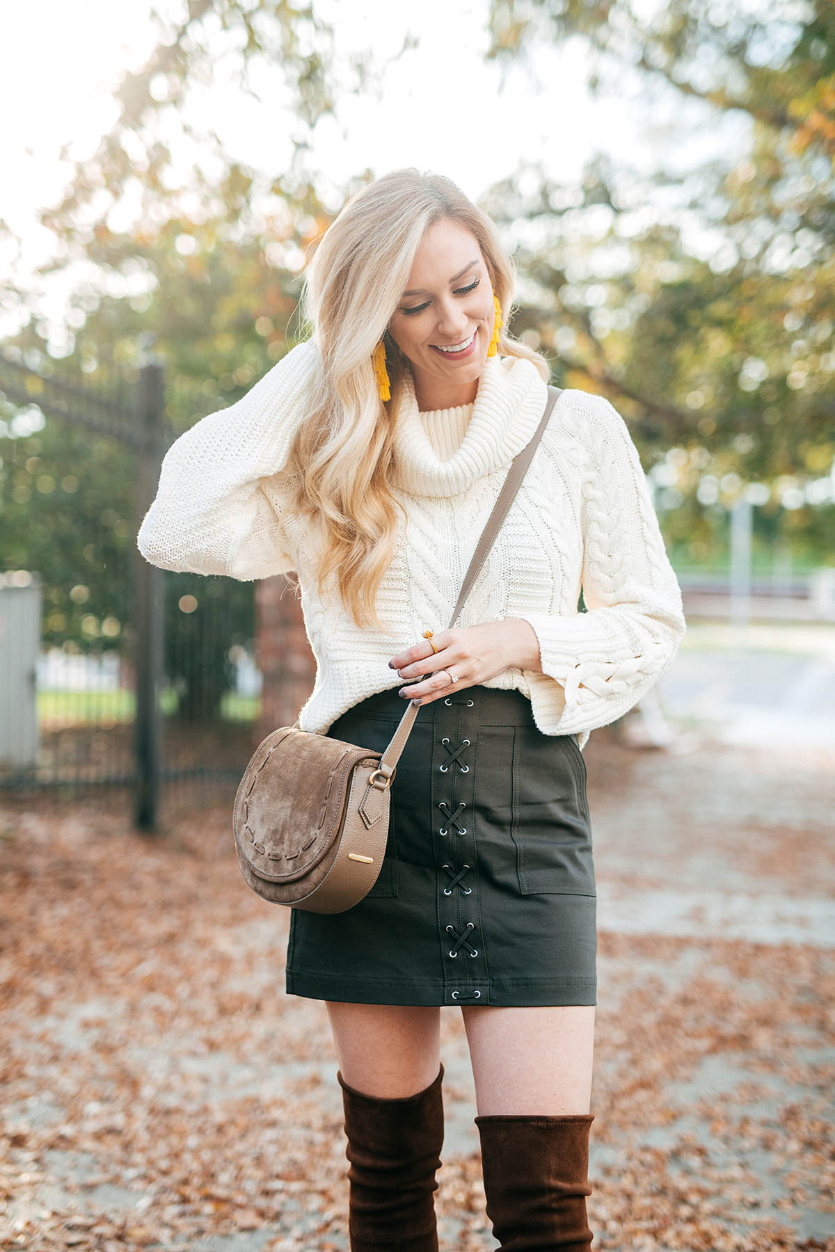Fall Outfit Ideas | Cable Knit Sweater and Lace Up Skirt