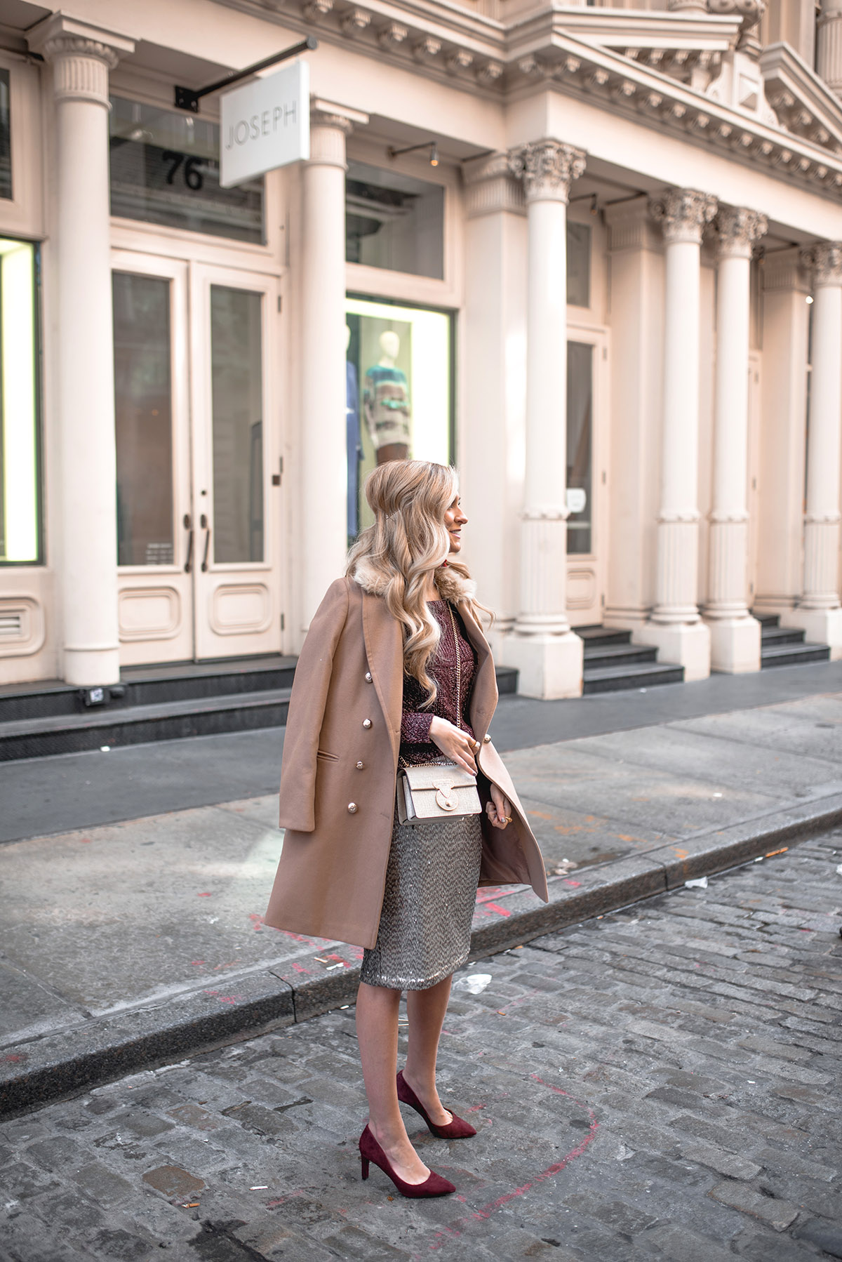 Holiday Party Outfit Ideas | Rockport Suede Pump + Sequin Skirt | How to Add Joy Into Your Everyday