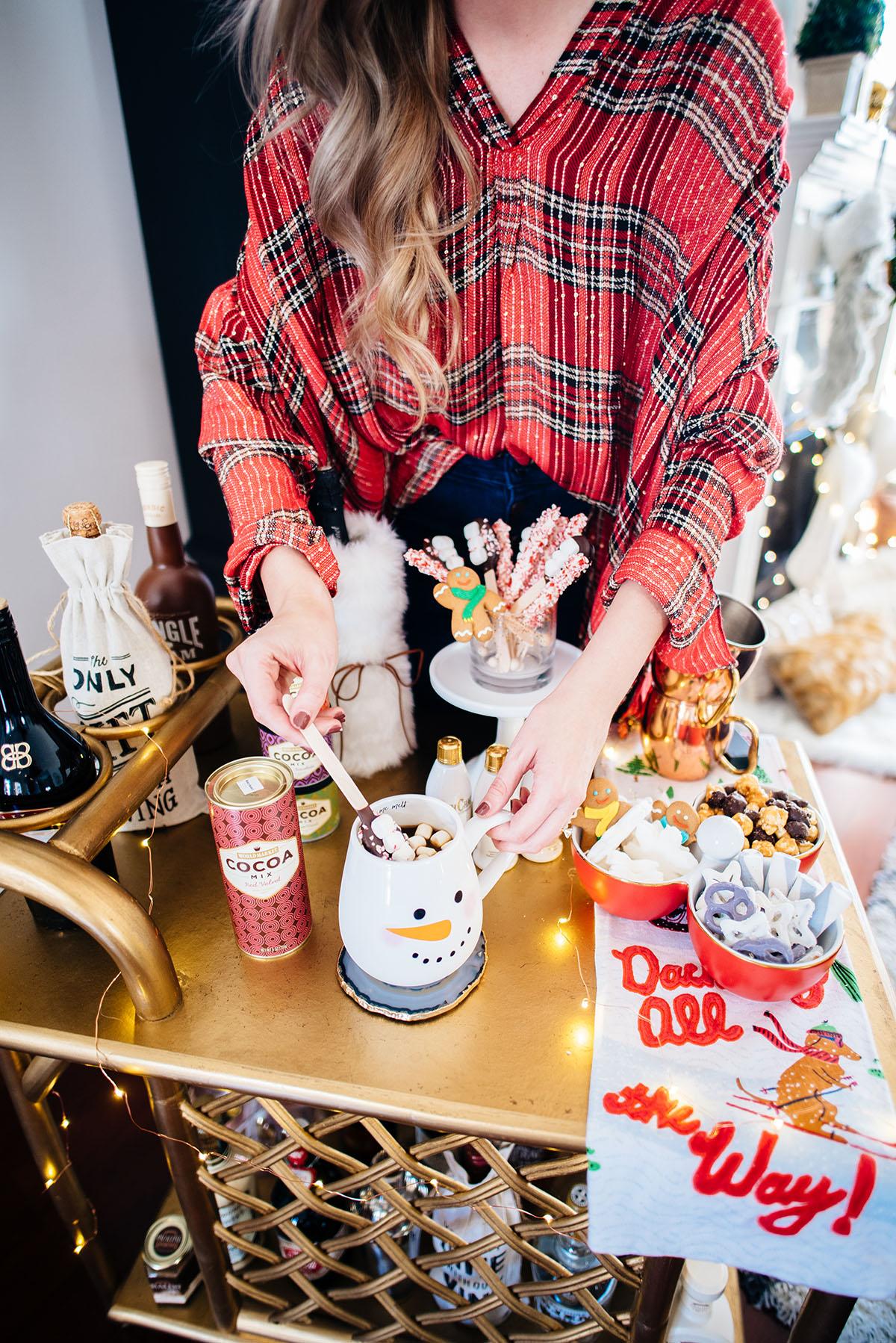 Spiked Hot Chocolate Bar | Holiday Bar Cart Ideas | Hot Chocolate Tips