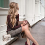 Holiday Party Outfit Ideas | Rockport Suede Pump + Sequin Skirt | How to Find Joy Everyday