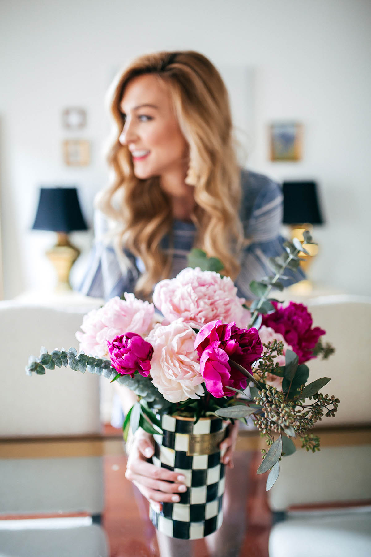 Fresh Peonies + MacKenzie Childs Courtly Check Vase | Friday Favorites