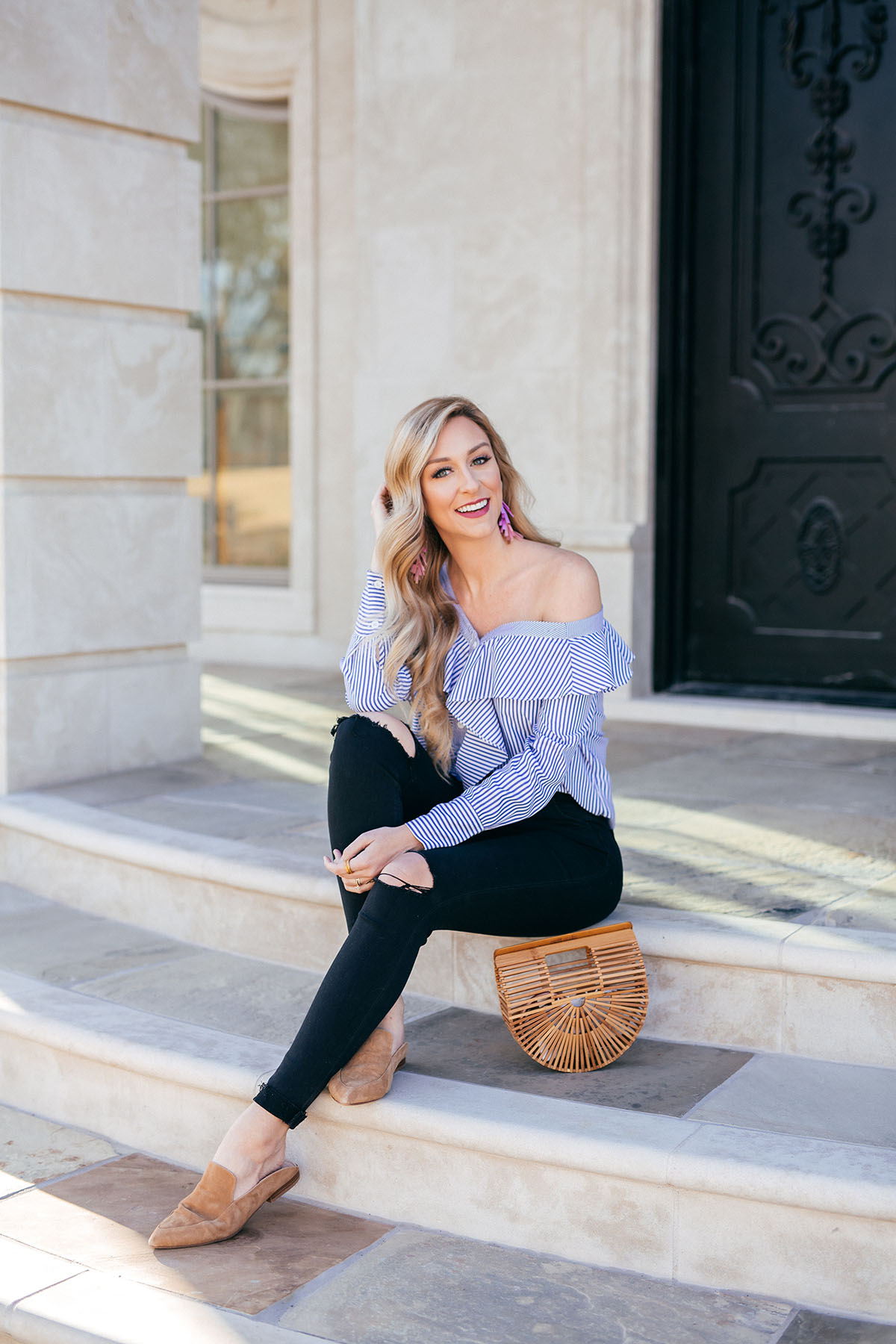 Transitional Spring Outfit Idea | Cult Gaia Bag | Pinstripe Top