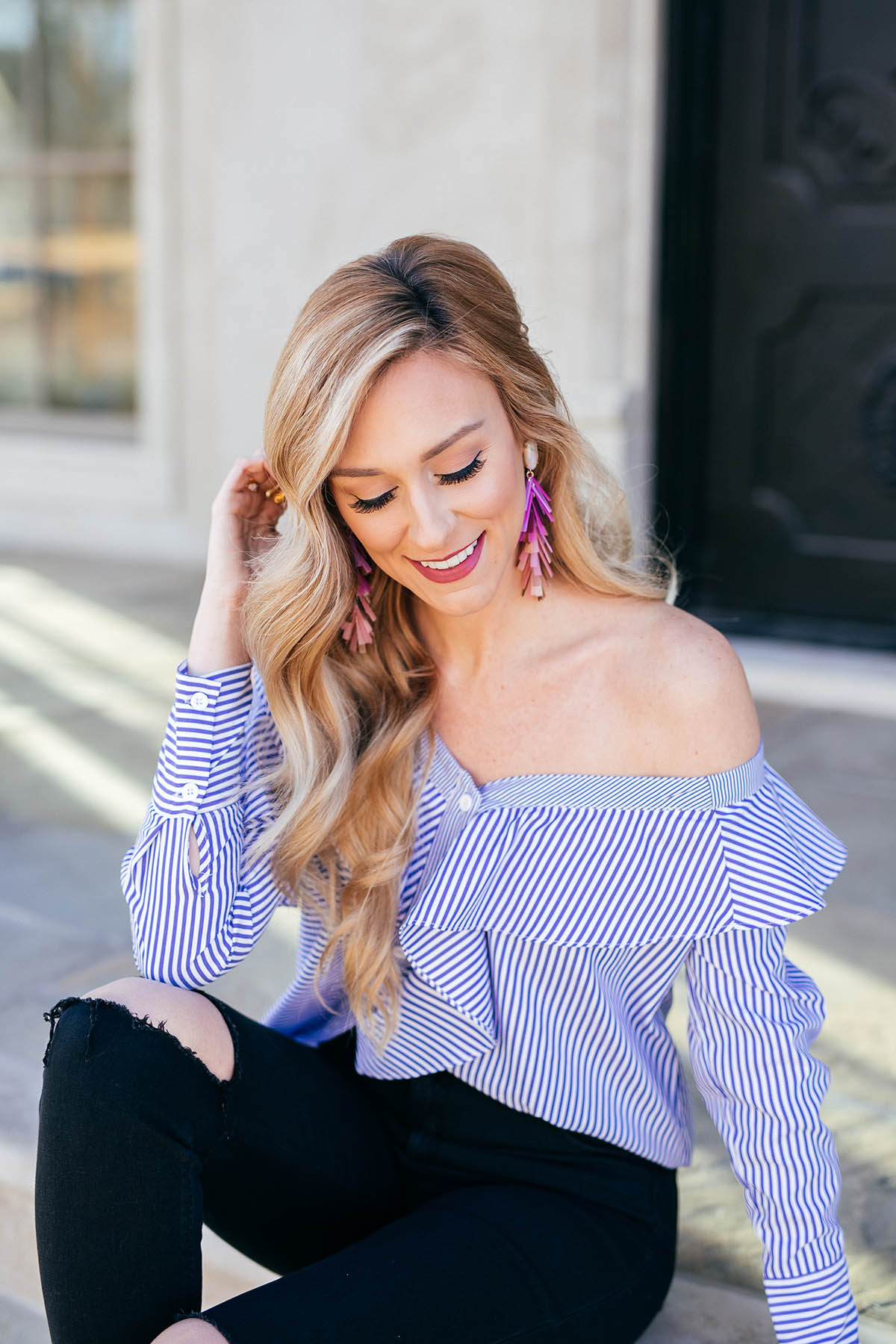 Transitional Spring Outfit Idea | Kendra Scott Justyne Earrings | Pinstripe Top