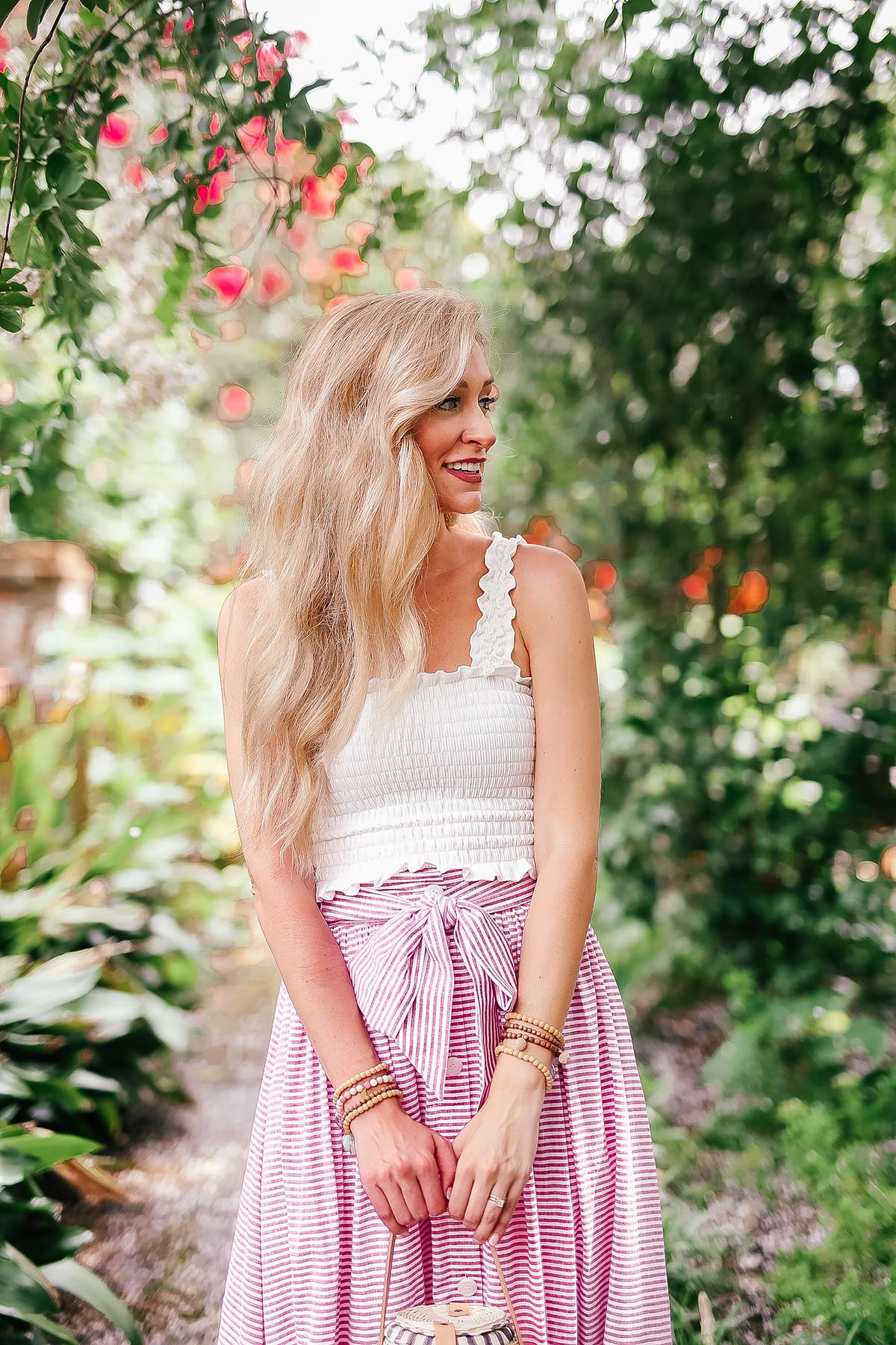 Spruce Up Your Summer Wardrobe | 1901 Tie Front Skirt + Smocked Crop Top